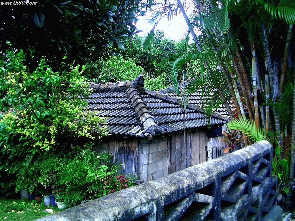 本部半島の今帰仁村にて撮影しました。沖縄古来の家造りです。